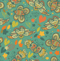 Decorative floral seamless background pattern with butterflies and fly hearts fabric ornate texture Royalty Free Stock Photography
