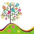 Decorative floral tree and bird, vector Royalty Free Stock Photo