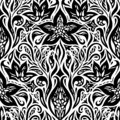 Decorative Flowers in Black White design Floral decorative ornate Background tattoo graphic design