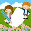 Decorative frame with children Royalty Free Stock Photography