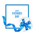 Decorative frame with gift box, blue bow and long ribbon. Happy Father`s Day text. Royalty Free Stock Photo