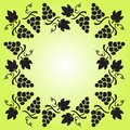Decorative frame with grapevine, grapes and leaves. Vector illustration