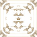 Decorative frame vector set of gold horizontal floral elements corners borders dividers crown page decoration Royalty Free Stock Photo