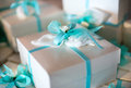 Decorative gift-wrapped party favor in a box Royalty Free Stock Photo