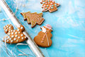 Decorative gingerbread christmas cookies prepared to be gift wrapped Royalty Free Stock Images