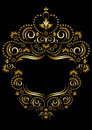 Decorative gold frame in oriental style black on a white background Stock Images