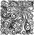Decorative graphic curly background with flowers a and leaves black and white pattern many similarities to the authors profile Stock Photos