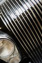 Decorative grille and headlights of vintage retro car Royalty Free Stock Photo