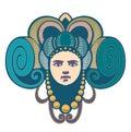 decorative head woman has horn
