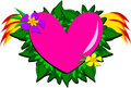Decorative Heart with Plants, Flowers, and Flames Royalty Free Stock Photo