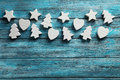 Decorative heart stars and fir tree on a blue wooden background Royalty Free Stock Photo
