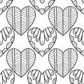 Decorative hearts. Black and white seamless illustration, pattern for coloring book, page