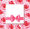 Decorative holiday template with pink roses, bow and horizontal ribbon. Vector frame with flowers. Spring tag.