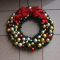 Decorative holiday wreath this is a picture of a displayed on michigan avenue in chicago illinois this picture was taken on Royalty Free Stock Photography