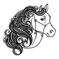 Decorative horse with patterned mane vector design Royalty Free Stock Photography