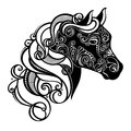 Decorative horse with patterned mane vector design Stock Photos
