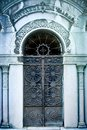 Decorative iron gate on a old tomb Royalty Free Stock Photo