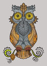 Decorative isolated owl on the branch
