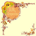 Decorative label with sunflower and grape Royalty Free Stock Photo