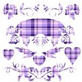 Decorative Lavender Plaid Set Royalty Free Stock Images