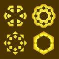 Decorative line art frames for design template. Elegant vector element for design in Eastern style. Golden outline