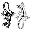 Decorative lizards reptiles with long curved tails decorated geometric ornament on white background, vector