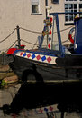Decorative moored narrow boat detail of canal Stock Images