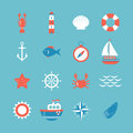 Decorative nautical icon set. Marine theme Royalty Free Stock Photo