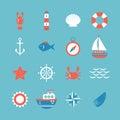 Decorative nautical icon set. Marine theme Royalty Free Stock Photo
