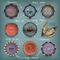 Decorative nautical set retro style Stock Photography