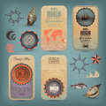 Decorative nautical set retro style Stock Photos