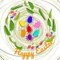 Decorative nest made of branches, leaves and flowers. Painted multi-colored decorative eggs lie in nest, text Happy Easter. Vector