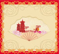 Decorative opened fan with patterns of chinese landscape illustration Stock Image