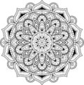 Decorative ornament in ethnic oriental style. Circular pattern in form of mandala for Henna, Mehndi, tattoo, decoration.
