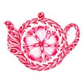 Decorative ornament teapot hand drawn illustration in ukrainian folk style Royalty Free Stock Image