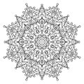 Decorative ornamental element. Black mandala on white background. Vector illustration