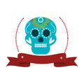 Decorative ornamental sugar skull with ribbon Royalty Free Stock Photo