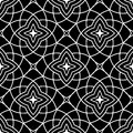 Decorative ornaments, black and white seamless pattern. Wallpaper background