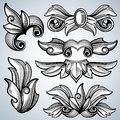 Decorative ornate engraving scroll ornament, leaves of baroque victorian frame border vector set Royalty Free Stock Photo