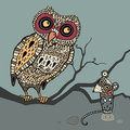 Decorative Owl and  Mouse. Cartoon illustration. Royalty Free Stock Photo