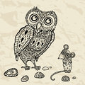 Decorative Owl and  Mouse. Cartoon illustration. Stock Images