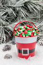 Decorative pail of Christmas candy Royalty Free Stock Photo