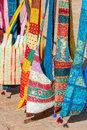 Decorative patchwork bags on a street market in Rajasthan, India Royalty Free Stock Photo