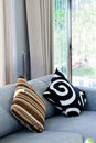 Decorative pillow natural fabric on sofa in house Stock Photography