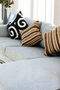 Decorative pillow natural fabric on sofa in house Royalty Free Stock Photos
