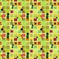Seamless pattern on a colored background with pineapples