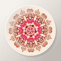 Decorative plate with bright floral mandala. Colorful round ornament. Vector illustration