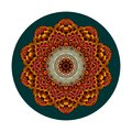 Decorative plate with flower - mandala. Round rug in ethnic style. Interior design. Royalty Free Stock Photo