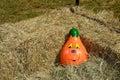 Decorative pumpkin gourd halloween autumn decoration smiling set in hay bales Stock Photography