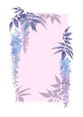 Decorative rectangular frame with floral watercolor elements and lilac background.